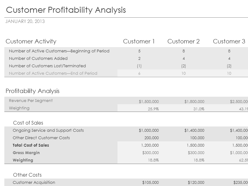 Download Excel 2003 Customer Profitability Analysis With Summary Metrics Chart