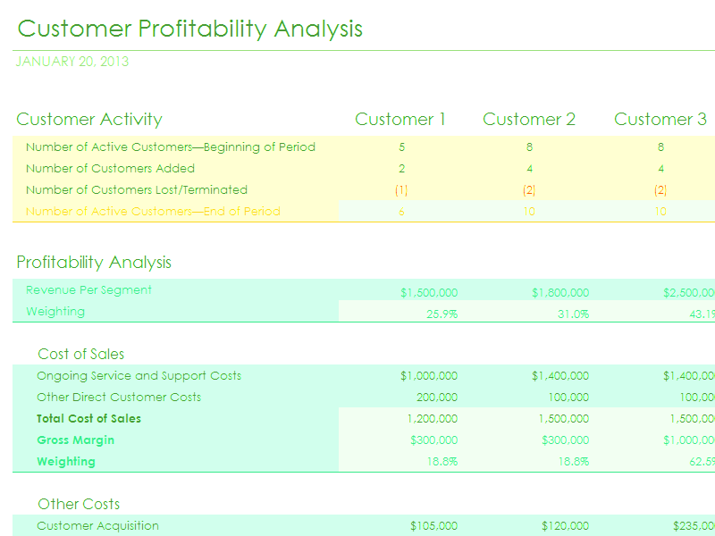 Download Excel 2010 Customer Profitability Analysis With Summary Metrics Chart