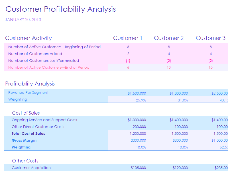 Download Excel 2013 Customer Profitability Analysis With Summary Metrics Chart
