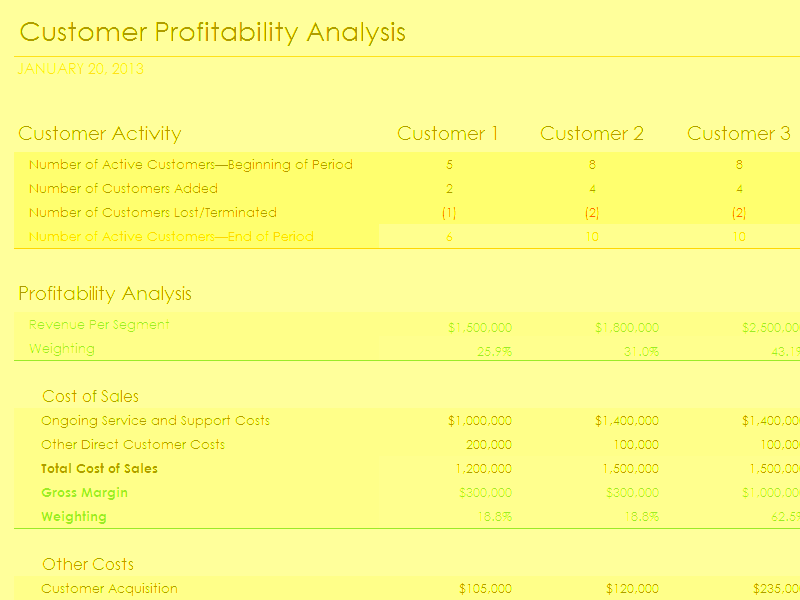 Download Excel 2016 Customer Profitability Analysis With Summary Metrics Chart