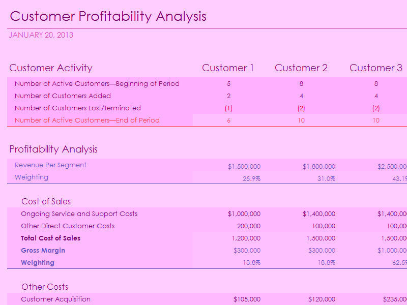 Download Microsoft Excel Customer Profitability Analysis With Summary Metrics Chart