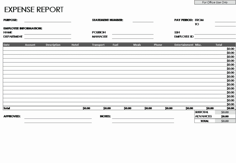 01 Employee Expense Report Template