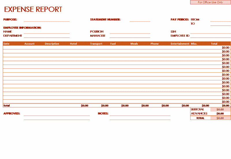 02 Employee Expense Report Template