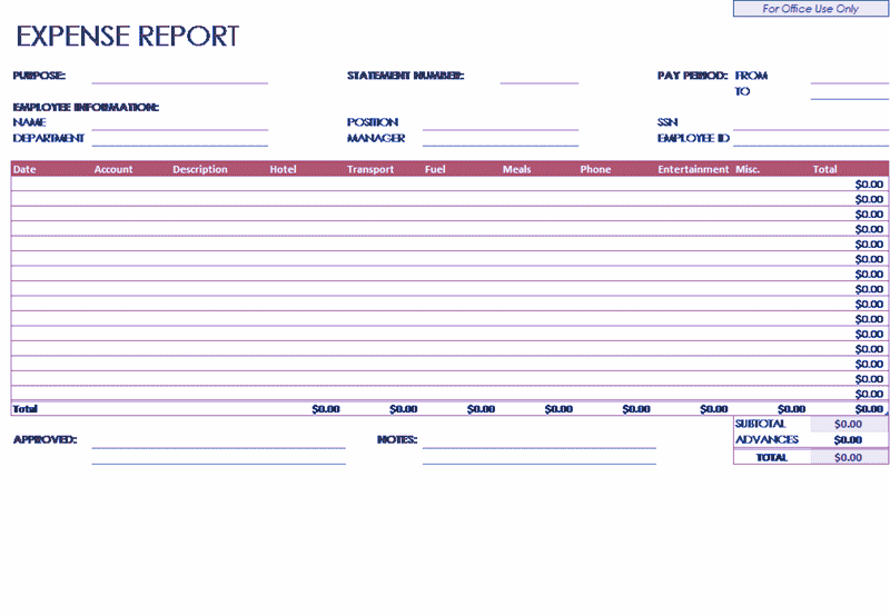 04 Employee Expense Report Template