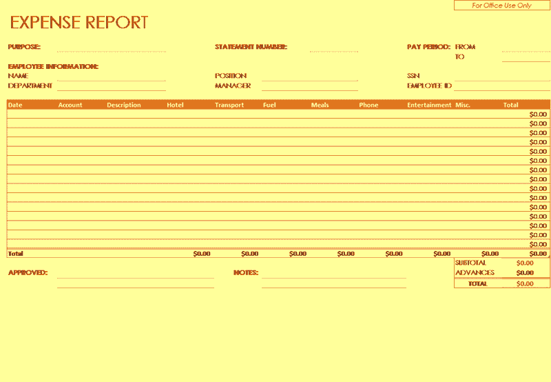 05 Employee Expense Report Template