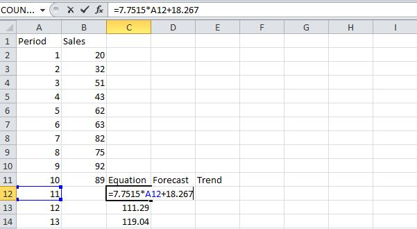 Forecasting in Excel Step 3