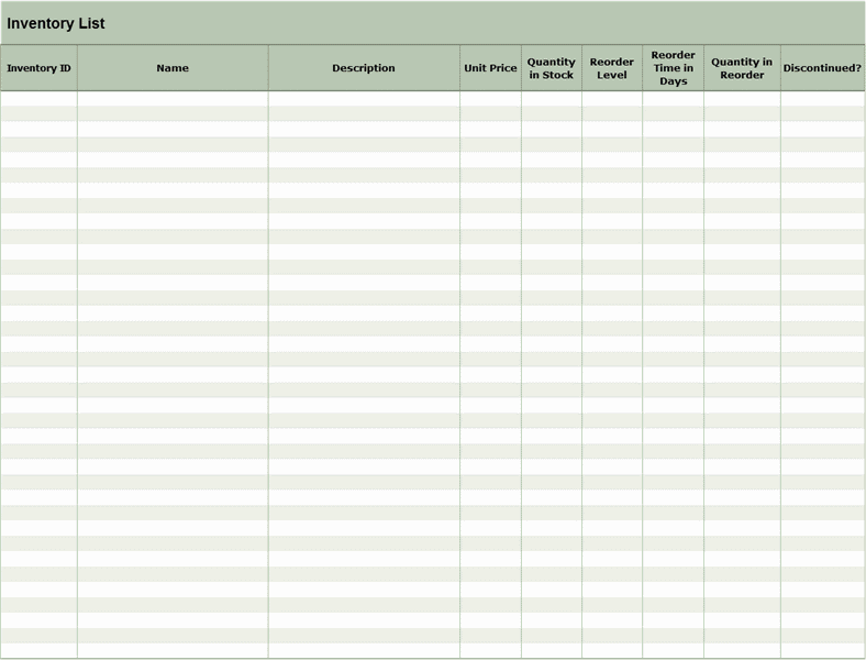 Download 01 Inventory List Excel Spreadsheet Sample