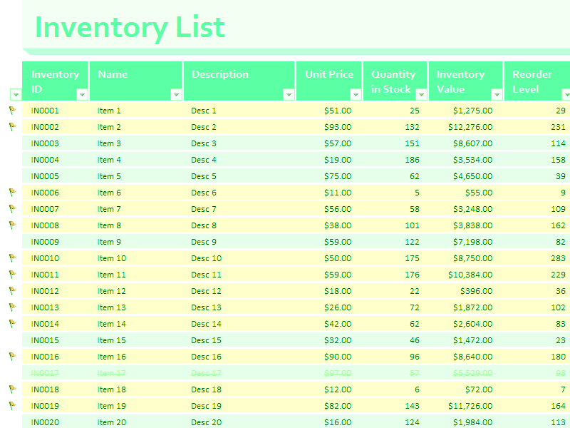03 Inventory Value Stock Excel Spreadsheet Sample