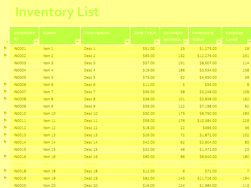 05 Inventory Value Stock Excel Spreadsheet Sample