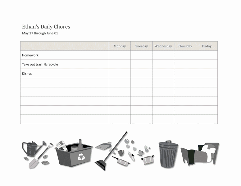 kids chore chart template excel