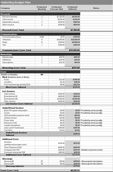 Marketing Plan and Budget