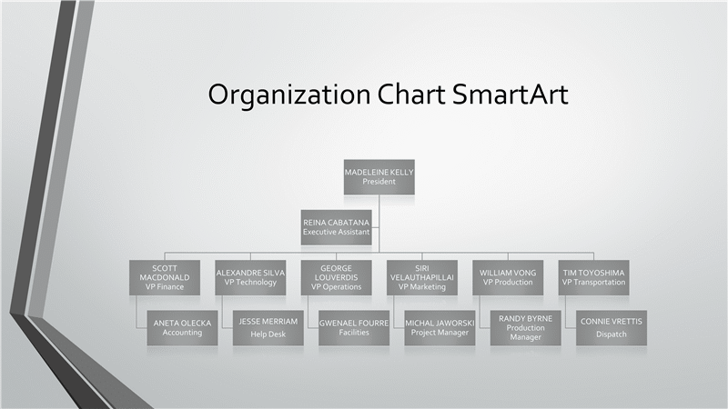 Download Organizational Chart Gray Green Widescreen - Microsoft office org chart template