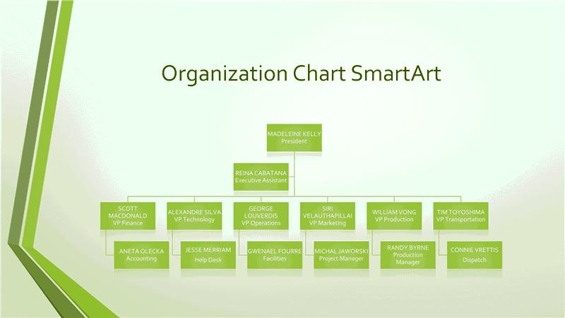 Download Organizational Chart Gray Green Widescreen
