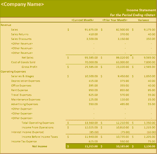 income statement template excel 2010 - photo #22