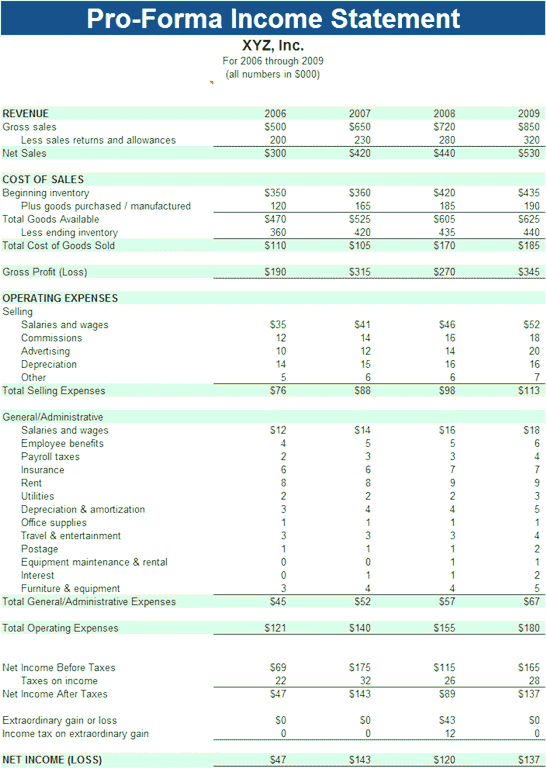 03 Pro-forma Income Statement
