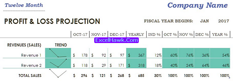 profit loss statement template in excel form tutorial excelhawk com
