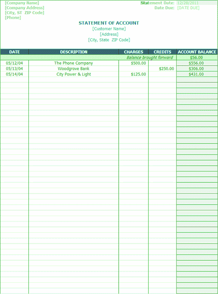 Download 03 Statement Of Account Activity Charges Credits Balance Date Due