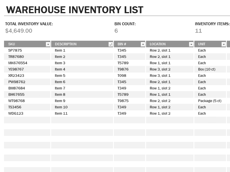 Download 01 Warehouse Inventory Excel Spreadsheet Sample