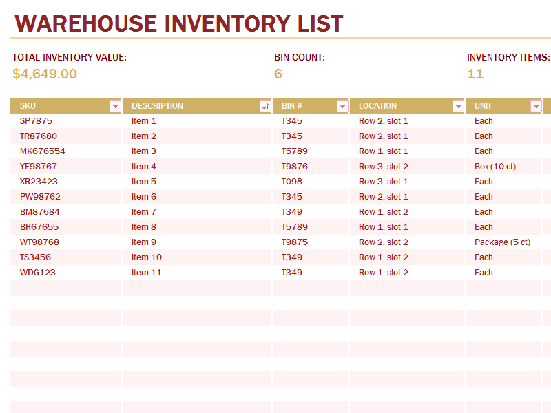 Download 02 Warehouse Inventory Excel Spreadsheet Sample