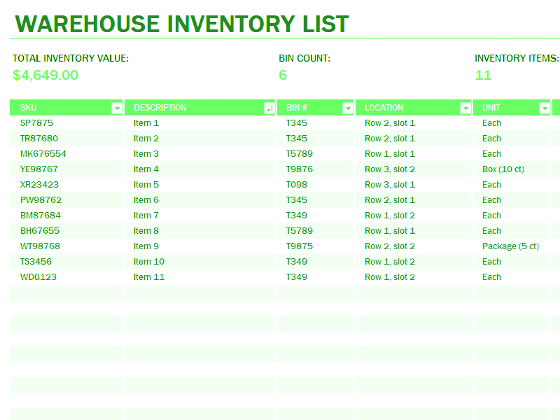 Download 03 Warehouse Inventory Excel Spreadsheet Sample