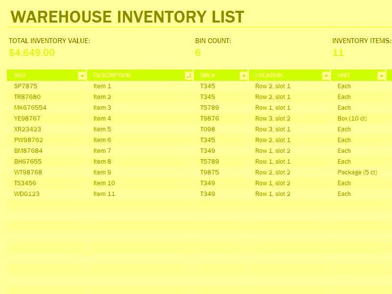 Download 05 Warehouse Inventory Excel Spreadsheet Sample
