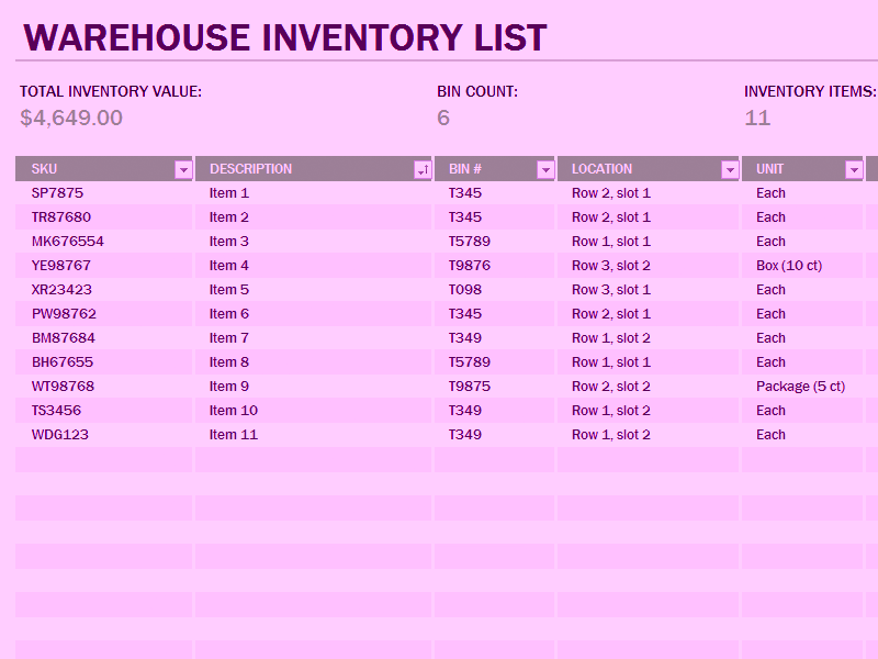 Download 06 Warehouse Inventory Excel Spreadsheet Sample