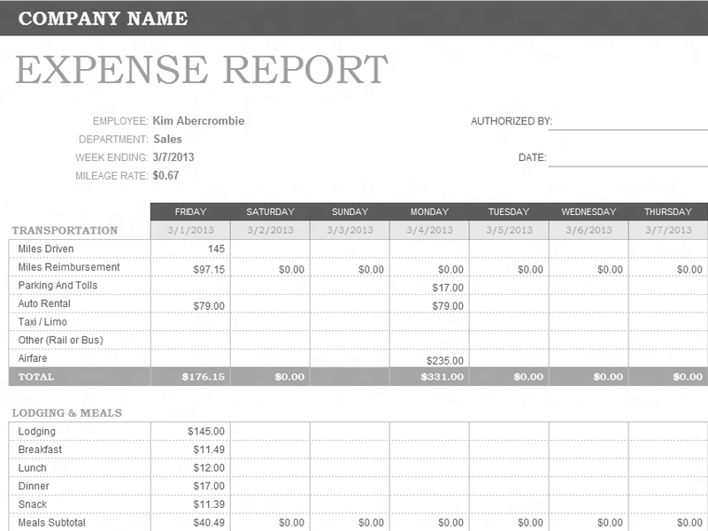 download weekly expense report template