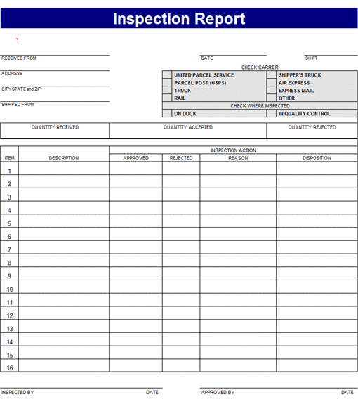 download inspection report microsoft excel templates